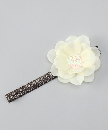 Ivory Leopard Sequin Flower Headband