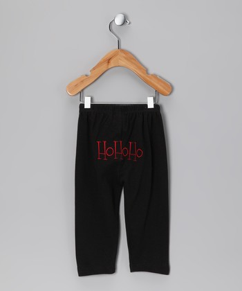 Black 'Ho Ho Ho' Pants - Infant & Toddler