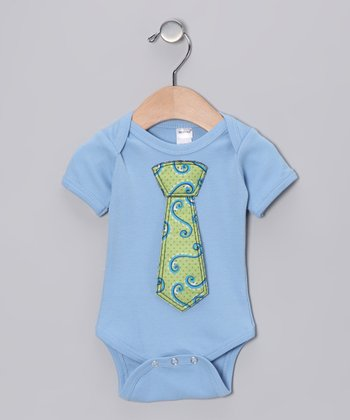 Blue Squiggle Tie Bodysuit - Infant