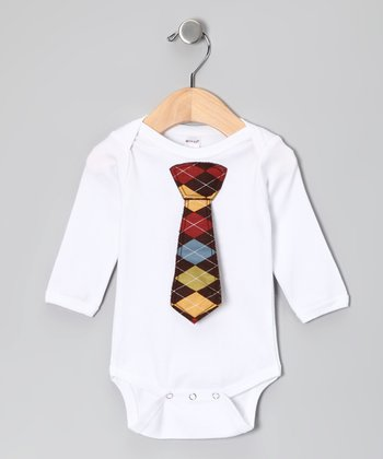 White Argyle Tie Bodysuit - Infant