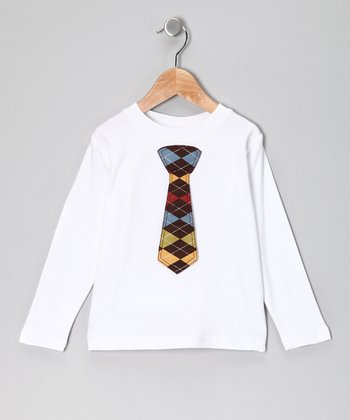 White Argyle Tie Tee - Toddler