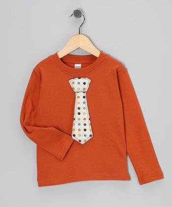 Orange Polka Dot Tie Tee - Toddler