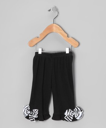 Black Zebra Bow Pants - Infant & Toddler