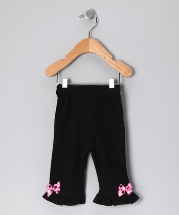 Black & Pink Polka Dot Bow Pants - Infant & Toddler