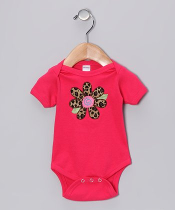 Fuchsia Leopard Flower Bodysuit - Infant