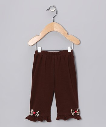 Brown Leopard Bow Pants - Infant & Toddler