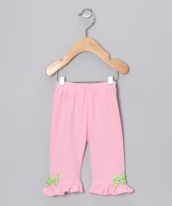 Pink & Green Polka Dot Bow Pants - Infant & Toddler