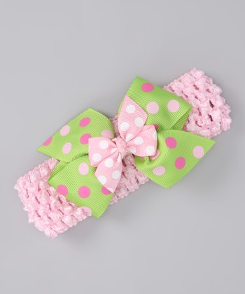 Pink & Green Polka Dot Bow Headband