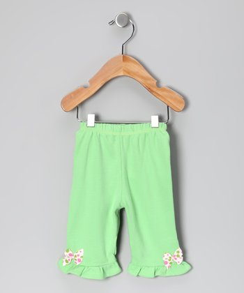 Green & White Polka Dot Bow Pants - Infant & Toddler