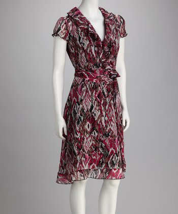 Phase Seven Pink & Gray Abstract Ruffle Wrap Dress