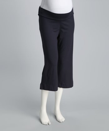 Navy Under-Belly Cropped Maternity Pants