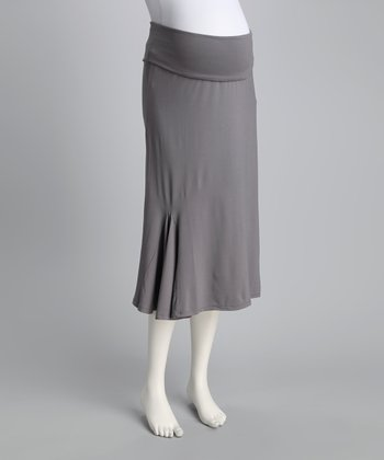 Gray Ruffle Maternity Skirt
