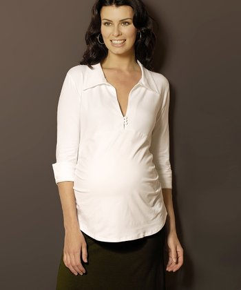 White Maternity Polo