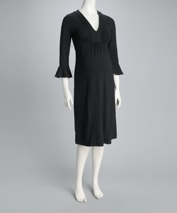 Black Maternity Empire-Waist Dress