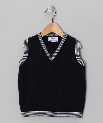 Navy & White Vest - Boys