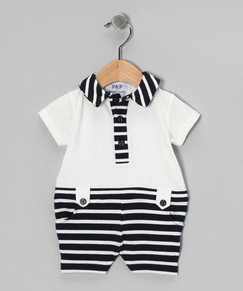 Navy & White Stripe Button Romper