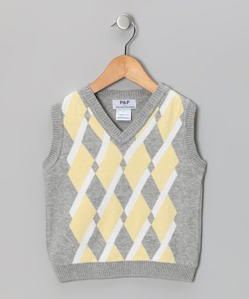 Gray & Yellow Argyle Vest - Toddler & Boys