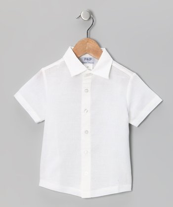 Cream Short-Sleeve Button-Up - Toddler & Boys