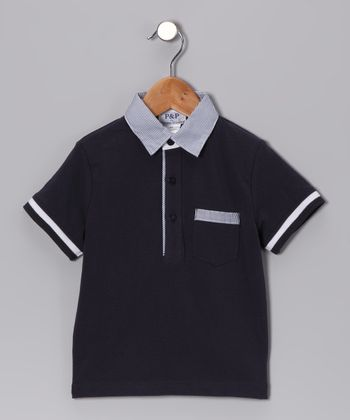 Navy & White Pocket Polo - Toddler & Kids