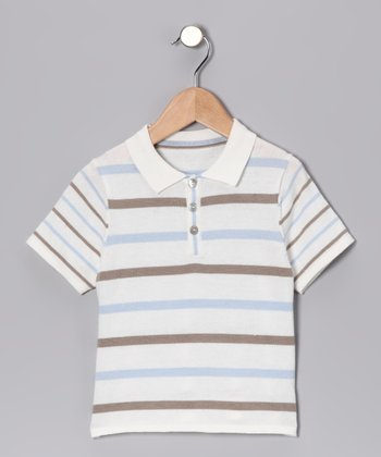 Brown & Blue Stripe Polo - Toddler & Kids