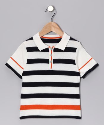 Navy & Orange Stripe Polo - Toddler & Kids