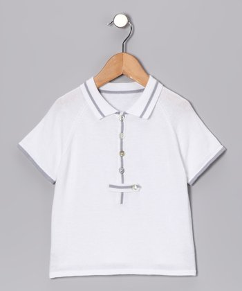 White & Gray Button Polo - Toddler & Kids