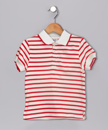 White & Red Pocket Polo - Kids