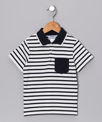 White & Navy Stripe Pocket Polo - Kids
