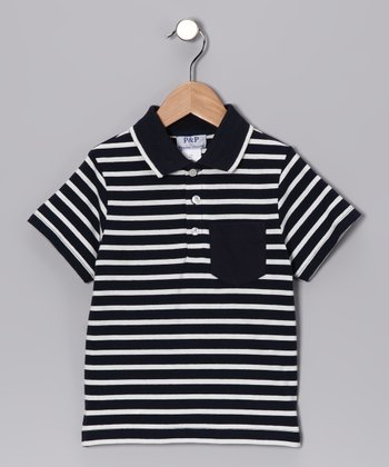 Navy & White Stripe Pocket Polo - Toddler & Kids