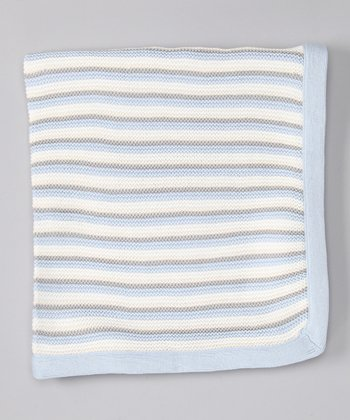 Blue Stripe Knit Receiving Blanket