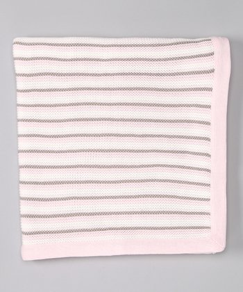Pink Stripe Knit Receiving Blanket