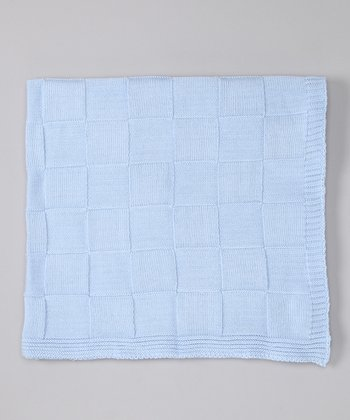 Blue Checkerboard Knit Receiving Blanket