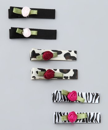 Black & Brown Animal Rosette Clip Set