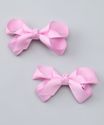 Pink Bubblegum Bow Clip Set