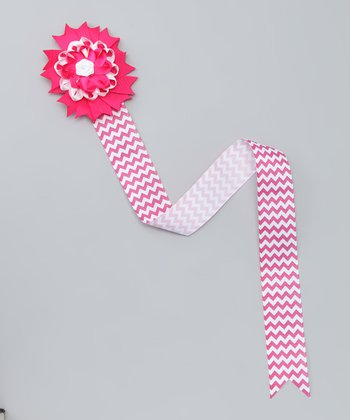 Pink & White Chevron Bow Clip Holder
