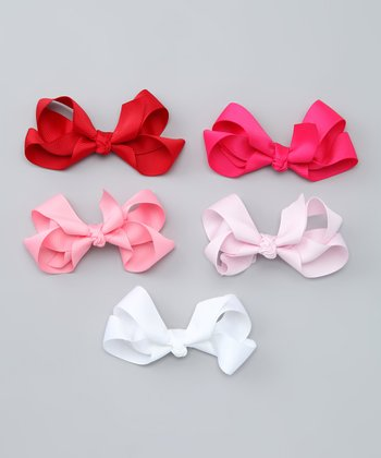 Red & Pink Bow Clip Set