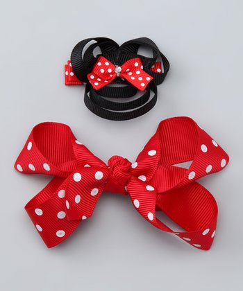 Red & Black Mouse Clip & Polka Dot Clip Set