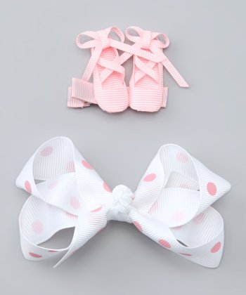 Pink Ballet Slipper & White Polka Dot Bow Clip Set