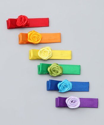 Rainbow Rosette Clip Set