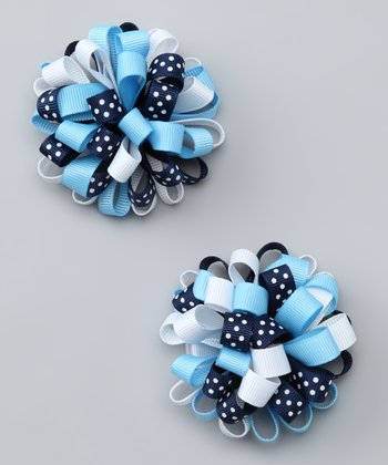 Blue Polka Dot Cutie Clip - Set of Two