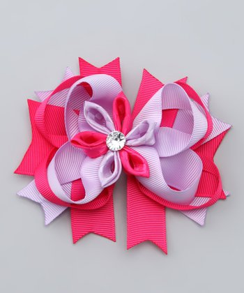 Pink & Purple Flower Bow Clip