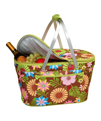 Floral Collapsible Insulated Picnic Basket