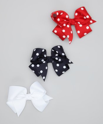 Red, White & Navy Polka Dot Bow Clip Set