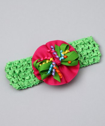 Shocking Pink & Apple Green Bow Headband
