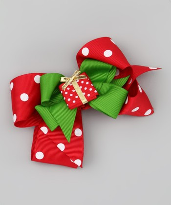Red Polka Dot & Present Bow Clip Set
