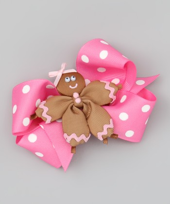 Gingerbread & Pink Polka Dot Bow Clip Set