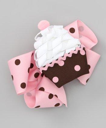 Pink Polka Dot Bow & Brown Cupcake Clip Set