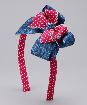 Picture Perfect Hair Bows Denim & Red Bow Headband