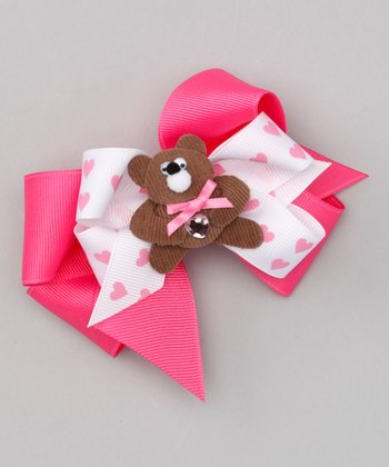Heart Bear Bow Clip Set