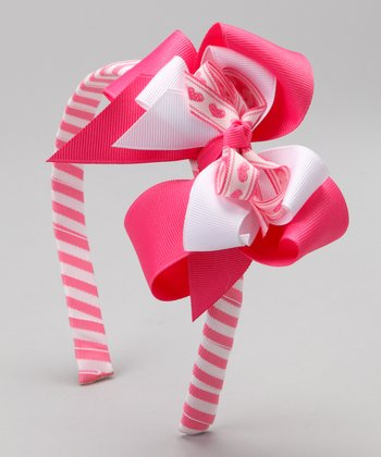 Jacquard Heart Layered Bow & Headband